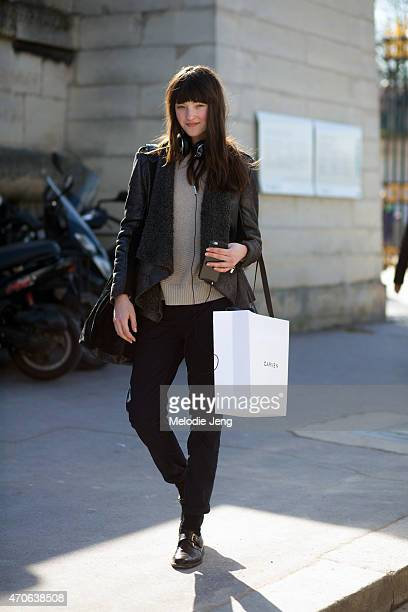Model Angela Longton exits the Carven show at the Tuileries on Day 3 of Paris Fashion Week FW15 on March 5 2015 in Paris France