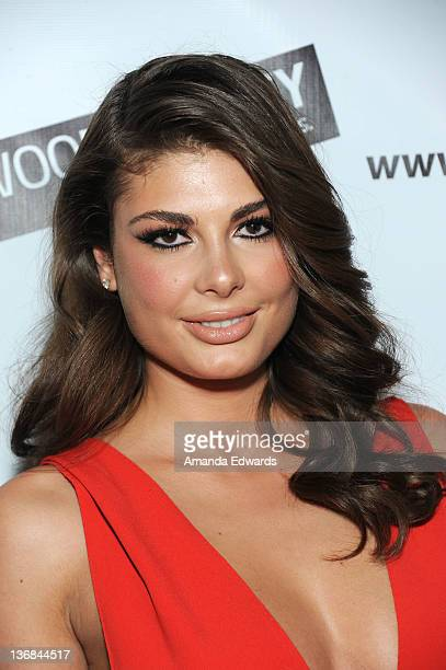 Model Angela Martini arrives at the Hollywood Agency's private People's Choice Awards afterparty at Club Nokia at LA Live on January 11 2012 in Los...