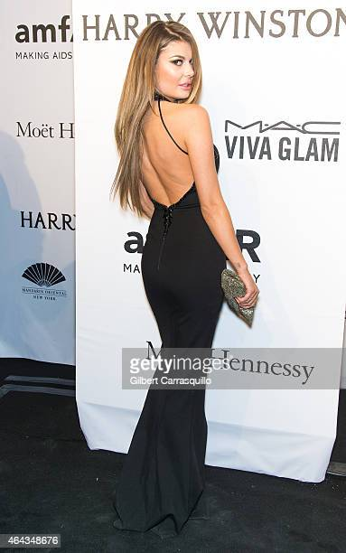 Model Angela Martini attends the 2015 amfAR New York Gala at Cipriani Wall Street on February 11 2015 in New York City