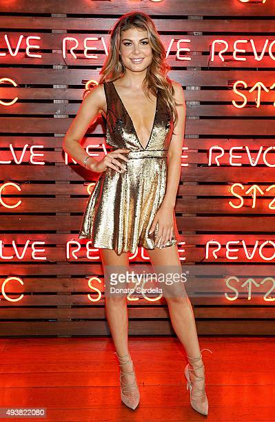 Model Angela Martini attends the REVOLVE fashion show benefiting Stand Up To Cancer on October 22 2015 in Los Angeles California