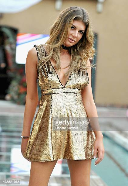 Model Angela Martini walks the runway at the REVOLVE fashion show benefiting Stand Up To Cancer on October 22 2015 in Los Angeles California