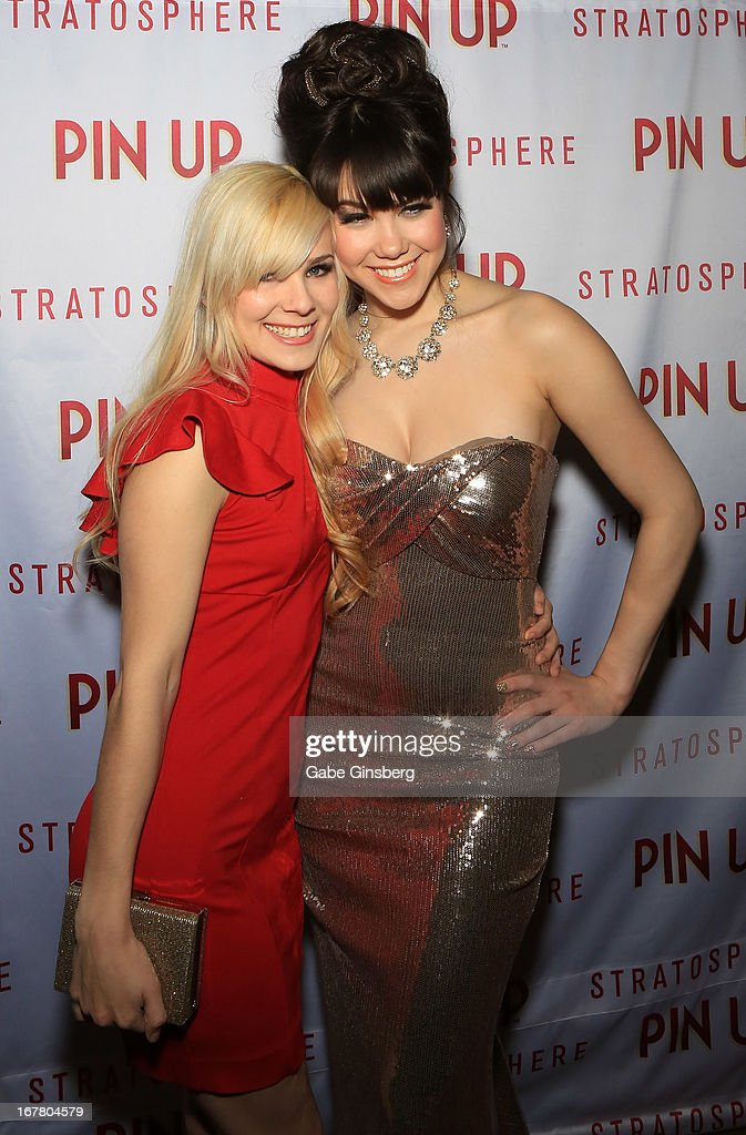 Model Angela Riccio (L) and model Claire Sinclair arrive at the premiere of the show 'Pin Up' at the Stratosphere Casino and Hotel on April 29, 2013 in Las Vegas, Nevada.