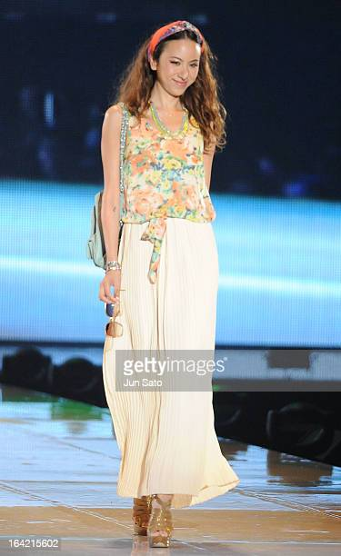 Model Angelica Michibata walks the Tokyo Runway 2013 S/S at Yoyogi National Gymnasium on March 20 2013 in Tokyo Japan