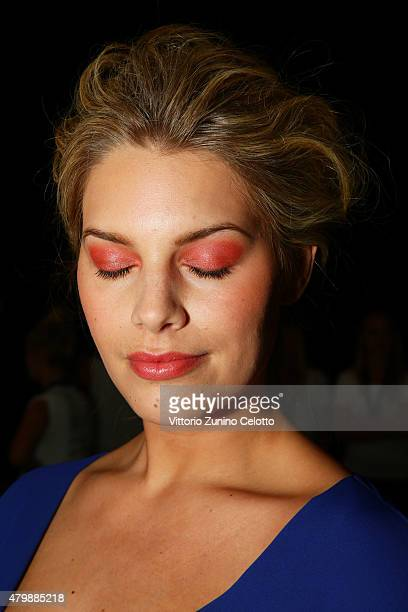 Model Angelina Kirsch poses backstage ahead of the Minx by Eva Lutz show during the MercedesBenz Fashion Week Berlin Spring/Summer 2016 at...