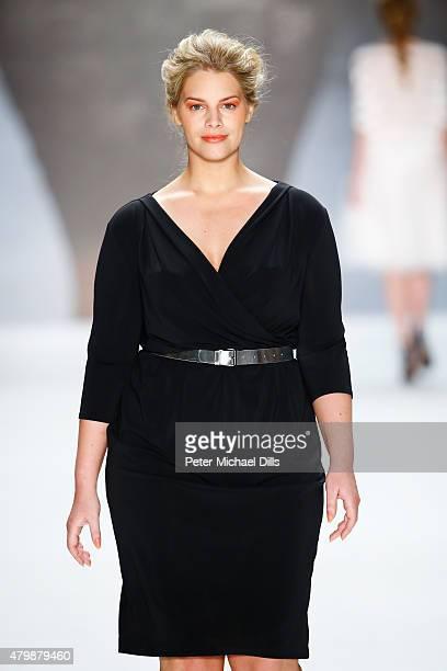 Model Angelina Kirsch walks the runway at the Minx by Eva Lutz show during the MercedesBenz Fashion Week Berlin Spring/Summer 2016 at Brandenburg...