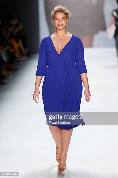 Model Angelina Kirsch walks the runway at the Minx by Eva Lutz show during the MercedesBenz Fashion Week Berlin Spring/Summer 2016 at Brandenburg...
