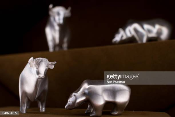 Model animals with the value of 680 GDP are displayed at Sharps Pixley Bullion Brokers on December 15 2015 in London England The brand established in...