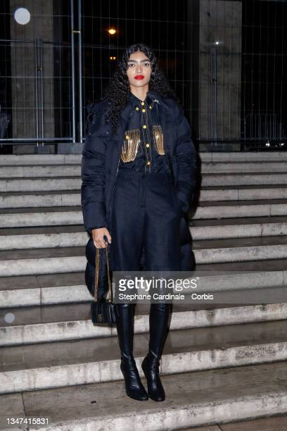 Model Anita Pozzo attends the Burberry Closing Party For Anne Imhof's Exhibition 'Natures Mortes' at Palais De Tokyo on October 18, 2021 in Paris,...