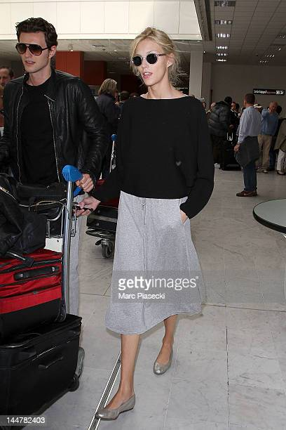 Model Anja Rubik and husband Sasha Knezevic arrive at Nice airport on May 19 2012 in Nice France