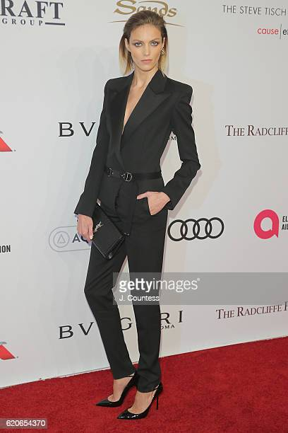 Model Anja Rubik attends 15th Annual Elton John AIDS Foundation An Enduring Vision Benefit at Cipriani Wall Street on November 2 2016 in New York City