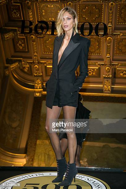 Model Anja Rubik attends the 'BoF500' Cocktail Event as part of the Paris Fashion Week Womenswear Spring/Summer 2017 at Hotel de Ville on October 4...