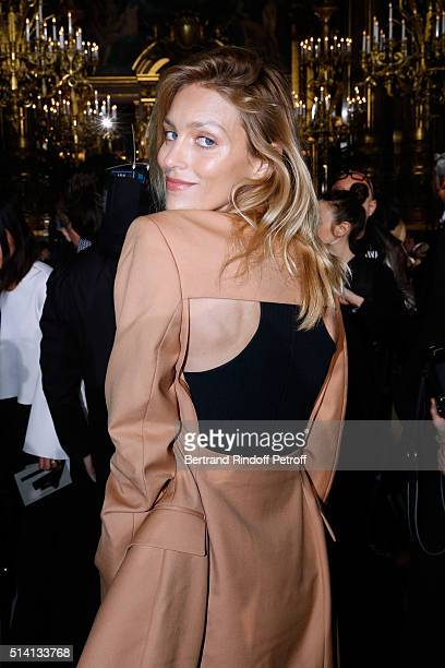 Model Anja Rubik attends the Stella McCartney show as part of the Paris Fashion Week Womenswear Fall/Winter 2016/2017 Held at Grand Palais on March 7...