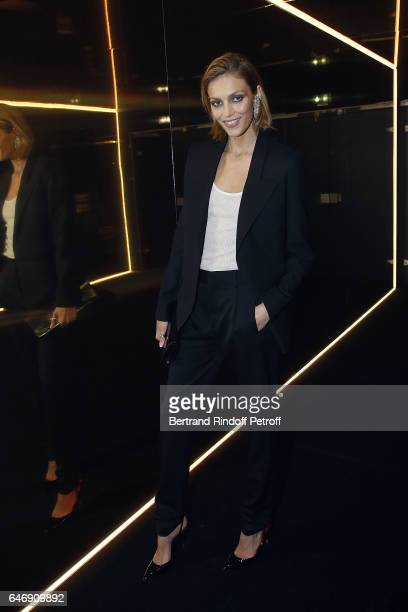 Model Anja Rubik attends Yves Saint Laurent Beauty Party as part of the Paris Fashion Week Womenswear Fall/Winter 2017/2018 at Carre Des Sangliers on...