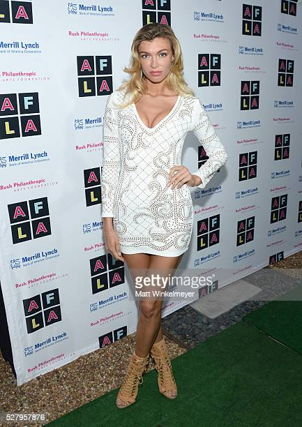 Model Anna Albrekht attends Russell Simmons' Rush Philanthropic Arts Foundation's inaugural Art For Life Los Angeles at Private Residence on May 3...
