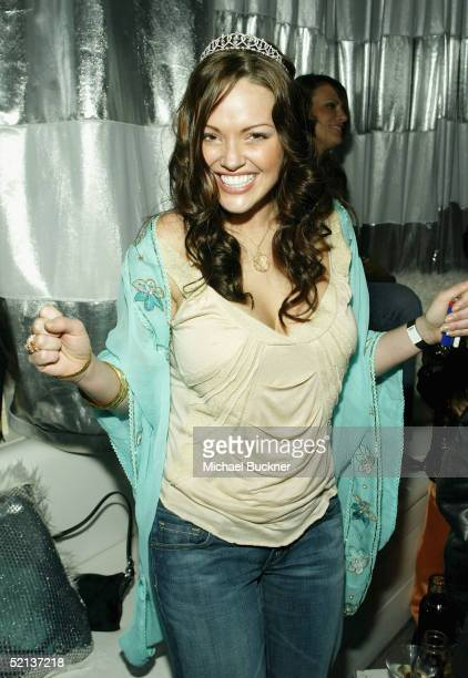 Model Anna Benson hangs out inside her birthday bash and Lingerie Bowl Party at Shelter on February 4 2005 in Los Angeles California