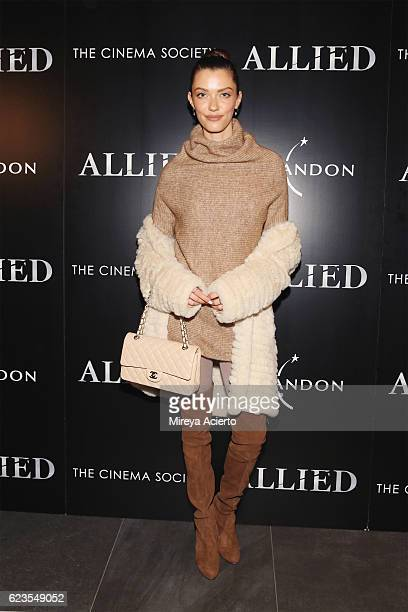 Model Anna Christina Schwartz attends a special screening of Allied hosted by Paramount Pictures The Cinema Society Chandon at iPic Fulton Market on...