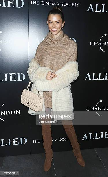 Model Anna Christina Schwartz attends the special screening of Allied hosted by Paramount Pictures with The Cinema Society Chandon at iPic Fulton...
