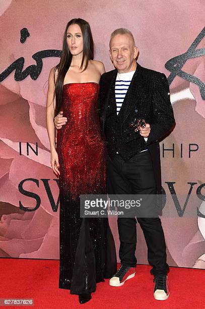 Model Anna Cleveland and designer Jean Paul Gaultier attend The Fashion Awards 2016 on December 5 2016 in London United Kingdom