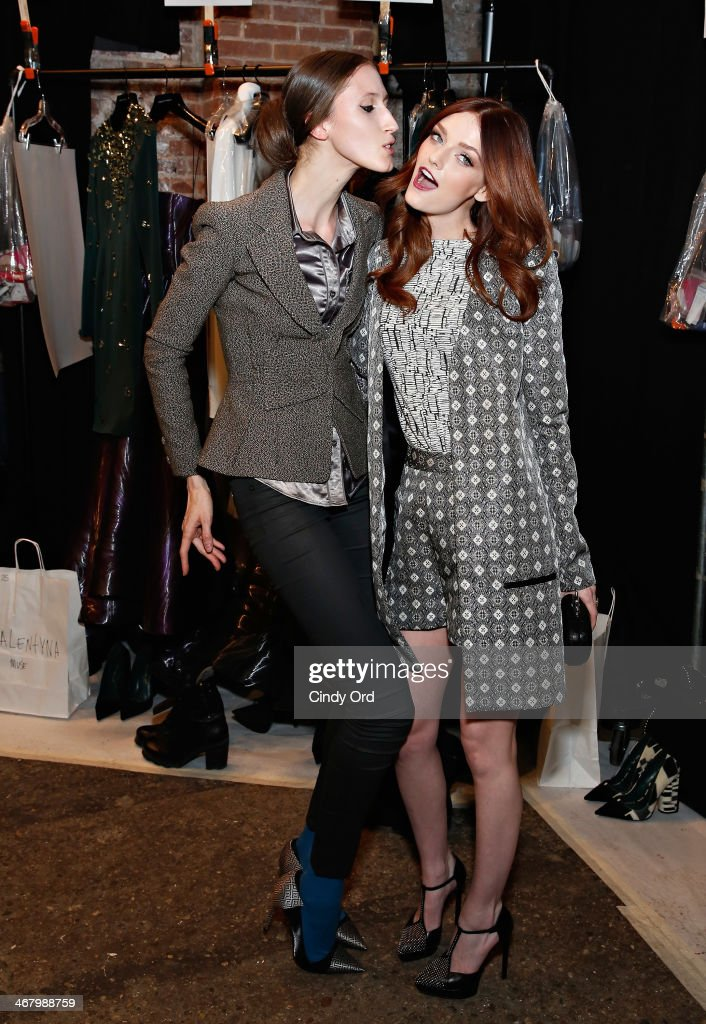 Model Anna Cleveland and model/ actress Lydia Hearst pose backstage at the Christian Siriano fashion show during the Mercedes-Benz Fashion Week Fall 2014 at Eyebeam on February 8, 2014 in New York City.