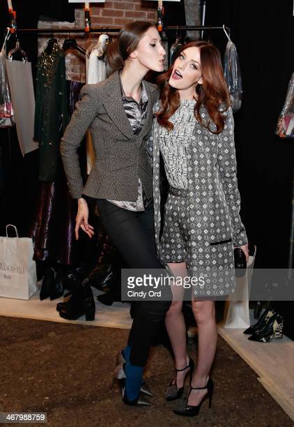 Model Anna Cleveland and model/ actress Lydia Hearst pose backstage at the Christian Siriano fashion show during the MercedesBenz Fashion Week Fall...