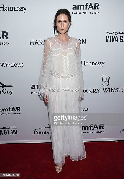 Model Anna Cleveland arrives at the 7th Annual amfAR Inspiration Gala on June 9 2016 in New York City