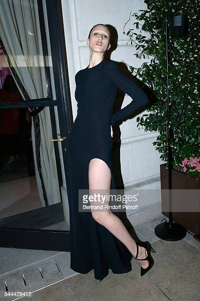Model Anna Cleveland attends the Amfar Paris Dinner Stars gather for Amfar during the Haute Couture Week Held at The Peninsula Hotel on July 3 2016...