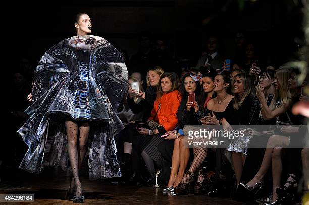 Model Anna Cleveland walks the runway at the GILES show during London Fashion Week Fall/Winter 2015/16 at Central Saint Martins on February 23 2015...