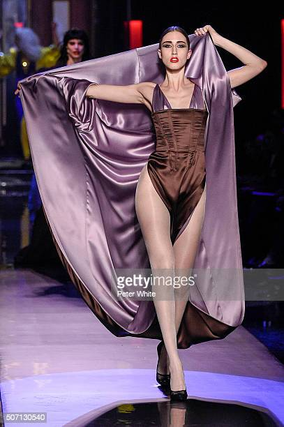 Model Anna Cleveland walks the runway during the Jean Paul Gaultier Spring Summer 2016 show as part of Paris Fashion Week on January 27 2016 in Paris...