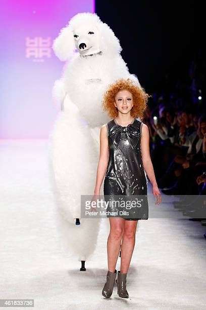 Model Anna Ermakova walks the runway at the Riani show during the MercedesBenz Fashion Week Berlin Autumn/Winter 2015/16 at Brandenburg Gate on...