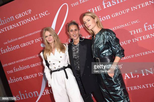 Model Anna Ewers honoree designer Isabel Marant and model/actress Carolyn Murphy attend the 2017 FGI Night Of Stars Modern Voices gala at Cipriani...
