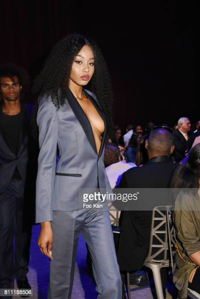 """Model Anna Faye dressed by Tailleur de Bayonne walks the runway during the """"Paris Appreciation Awards 2017"""" At The Eiffel Tower on July 8, 2017 in..."""