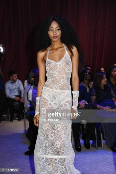 """Model Anna Faye dressed by Verone Creatrice walks the runway during the """"Paris Appreciation Awards 2017"""" At The Eiffel Tower on July 8, 2017 in..."""