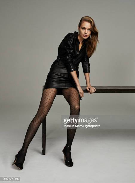 Model Anna Mila Guyenz poses at a fashion shoot for Madame Figaro on November 1 2017 in Paris France Dress by Iro tights by Wolford Earrings by...