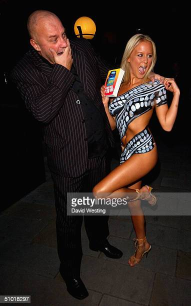 Model Anna Taverner and author Colin Butts' attend a book launch party on July 1 2004 at Embassy Club in London Butts' new Ibiza thriller 'A Bus...