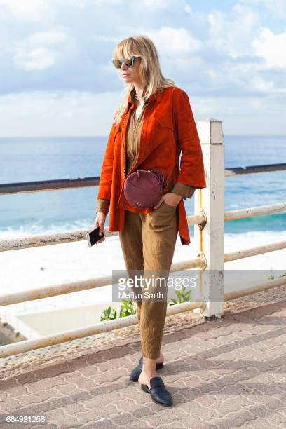 Model Annabella Barber wearing an Ellery jacket, Jerome Dreyfuss bag and Shop Doen jumpsuit during Mercedes-Benz Fashion Week Resort 18 Collections...