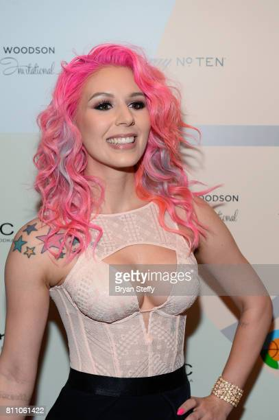 Model Annalee Belle arrives at the Coach Woodson Las Vegas Invitational red carpet and pairings gala at 1 OAK Nightclub at The Mirage Hotel Casino on...