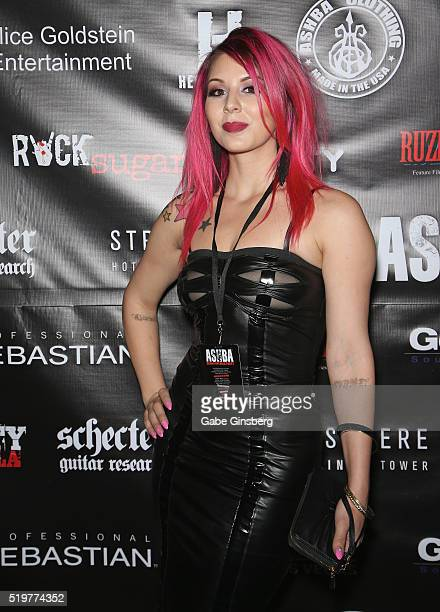 Model Annalee Belle attends the grand opening of guitarist Dj Ashba's Ashba Clothing Store at the Stratosphere Casino Hotel on April 7 2016 in Las...