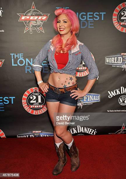 Model Annalee Belle attends the Professional Bull Riders Official PBR 21st Birthday Party at the Mandalay Bay Resort and Casino on October 25 2014 in...