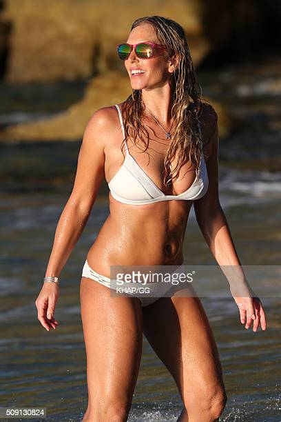 Model Annalise Braakensiek is seen on a photo shoot for Flamingo Sunglasses on February 8 2016 in Sydney Australia