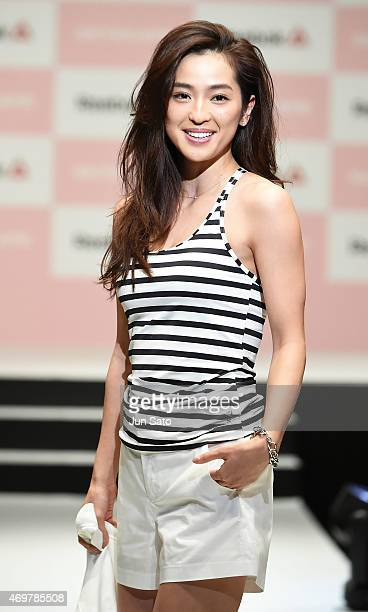 Model Anne Nakamura attends the promotional event for Reebok Skyscape at the Omotesando Hills on April 15 2015 in Tokyo Japan