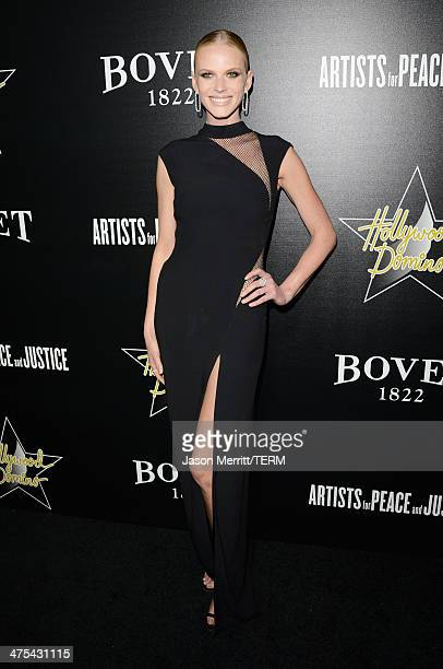 Model Anne V attends the 7th Annual Hollywood Domino and Bovet 1822 Gala benefiting artists for peace and justice at Sunset Tower on February 27 2014...