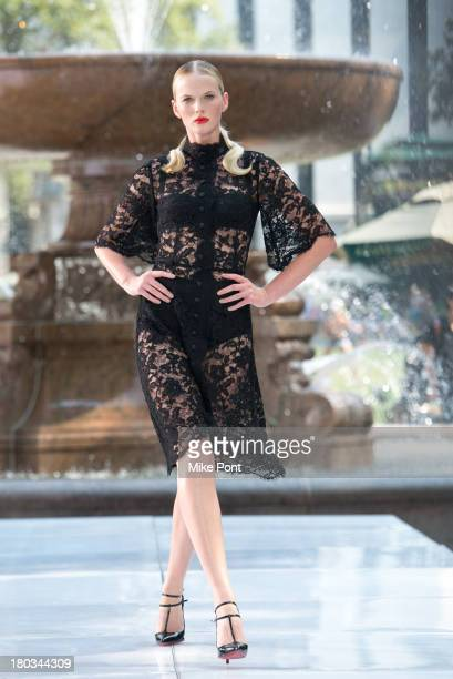 Model Anne V awalks the runway at 'The Face' Season 2 Pop Up Fashion Show at Bryant Park on September 11 2013 in New York City