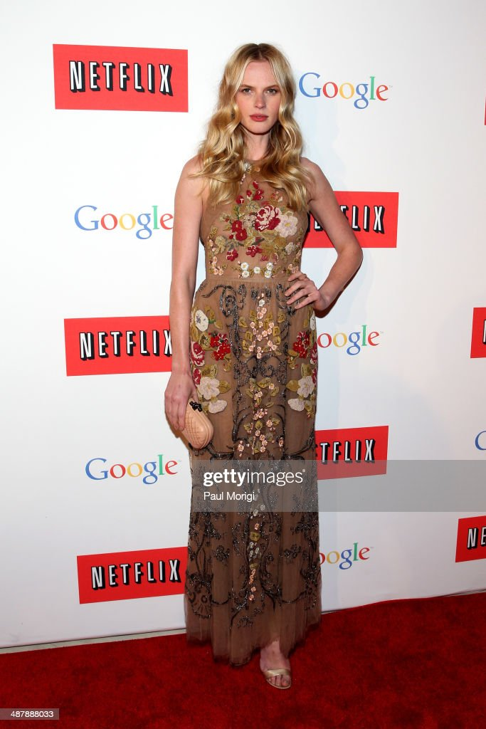 Model Anne V walks the red carpet at Google/Netflix White House Correspondent's Weekend Party at United States Institute of Peace on May 2, 2014 in Washington, DC.