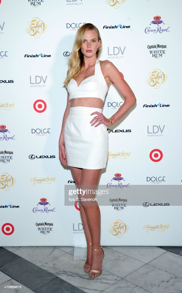 Model Anne Vyalitsyna arrives at SI Swimsuit South Beach Soiree at The Gale South Beach on February 20, 2014 in Miami Beach, Florida.