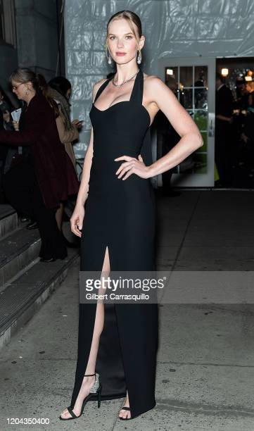Model Anne Vyalitsyna is seen arriving to the 2020 amfAR New York Gala at Cipriani Wall Street on February 05, 2020 in New York City.
