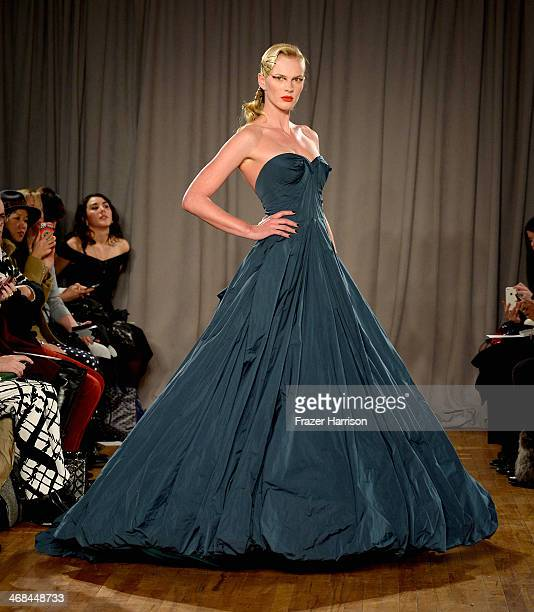Model Anne Vyalitsyna walks the runway at the Zac Posen fashion show during MercedesBenz Fashion Week Fall 2014 on February 10 2014 in New York City