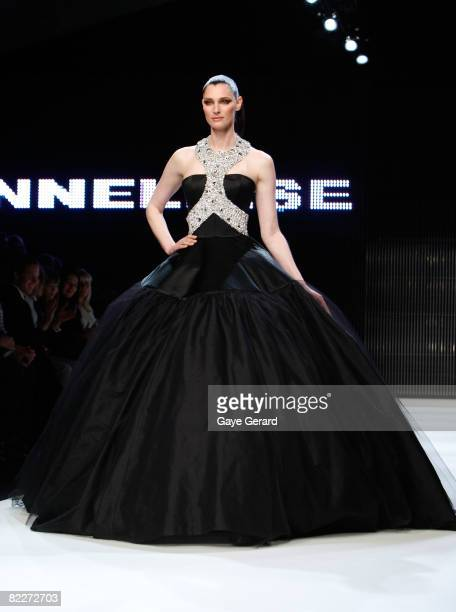 Model Anneliese Seubert showcases designs by Alex Perry on the catwalk at the Fashion Targets Breast Cancer with Alex Perry and IMG Fashion gala...
