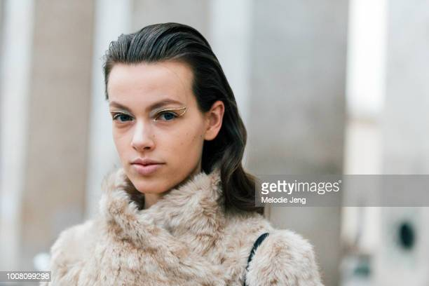 Model Anniek Abma after a show with eye makeup during Couture Spring/Summer 2017 Fashion Week on January 25 2017 in Paris France