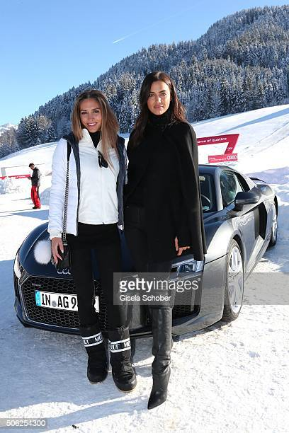 Model AnnKathrin Broemmel girlfriend of Mario Goetze and super model Irina Shayk attend the Audi driving experience during the Audi Hahnenkamm race...
