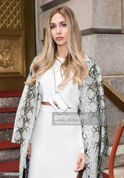 Model AnnKathrin Brommel is seen arriving to Kate Spade Fashion show during New York Fashion Week at Cipriani 25 Broadway on February 8 2019 in New...
